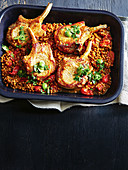 Lentil-braised pork with olive relish