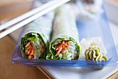 Rice paper rolls with wasabi and ginger