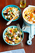 Farfalle with pumpkin, courgette, prunes and feta