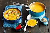 Pumpkin cream soup with persimone