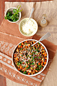 Buckwheat with mushrooms, carrot and parmesan