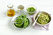 Pasta with rocket pesto