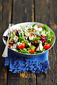 Salad with blue cheese and cherry tomatoes