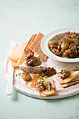 Braised honey grapes with walnuts for cheese and crackers
