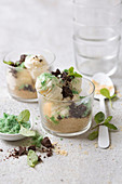 Vanilla ice cream with mint sugar and chocolate biscuits
