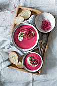 Beetroot soup on a tray