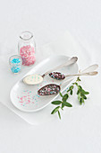 Chocolate spoons with sprinkles
