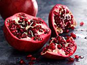 A pomegranate, cut open