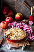 Apple pie with a pastry lattice