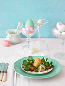 Fried egg with watercress for Easter