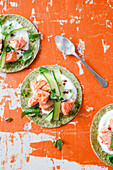 Algae tacos with salmon and cucumber strips