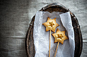 Vegan stars on sticks with an apple and almond filling