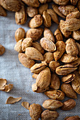 Salted, roasted almonds in shells