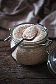 A jar of psyllium husks