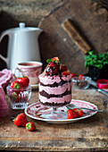 Strawberry and chocolate trifle