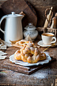 Sweet yeast dough wreaths with coffee