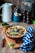 Quiche with wild mushrooms