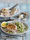 Sicilian style baked swordfish fillets (Italy)