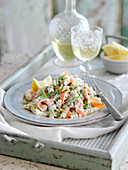 Creamy Fusilli Bucati with smoked salmon