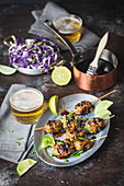 Asian Chicken Meatballs on Skewers with Cabbage Salad