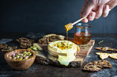 Baked Brie with Honey and Pistachios