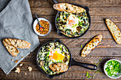 Creamed Greens with Baked Eggs and Toast