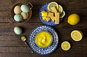 Lemon Curd with Cookies and Eggs