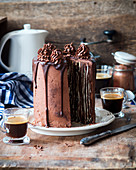 Vertical chocolate and honey cake with sour cream