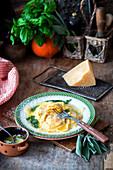 Pumpkin raviloli with sage