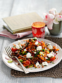 Warm puy lentil salad with vegetables and feta