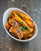 Sweet potato fries with hebs and sea salt