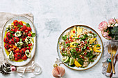 Confit tomato caprese-style salad, mango and chilli-pickled cucumber noodle salad