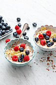 Bircher muesli with shredded apple and fresh berries