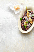 Fennel risotto with black rice and mushrooms