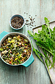Dandelion one pot with barley and lentils