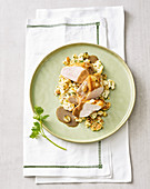 Sherry corn-fed chicken breast on roasted cauliflower