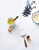 Zutaten für Couscous-Pancakes mit Heidelbeeren