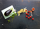 Bulgur, aubergines, tomatoes and paprika powder