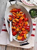 Roasted butternut squash with peppers