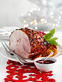 Spiced gammon with red currant sauce