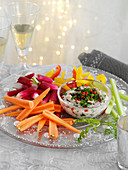 Crudites with spicy bean dip