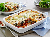 Canelloni with spinach, tomatoes and red pepper