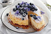 Cheesecake with blueberry and pansies