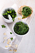 Parsley with almond spread