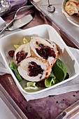 Chicken breast stuffed with cranberry and soft cheese