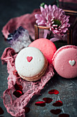 Berry and yogurt macarons for Valentine's Day