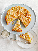 Almond and rhubarb cake, sliced