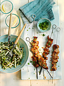 Beef satay skewers with a herby apple and celery salad