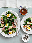 Nicoise salad with boiled eggs