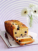 Polenta loaf cake with blueberries, sliced